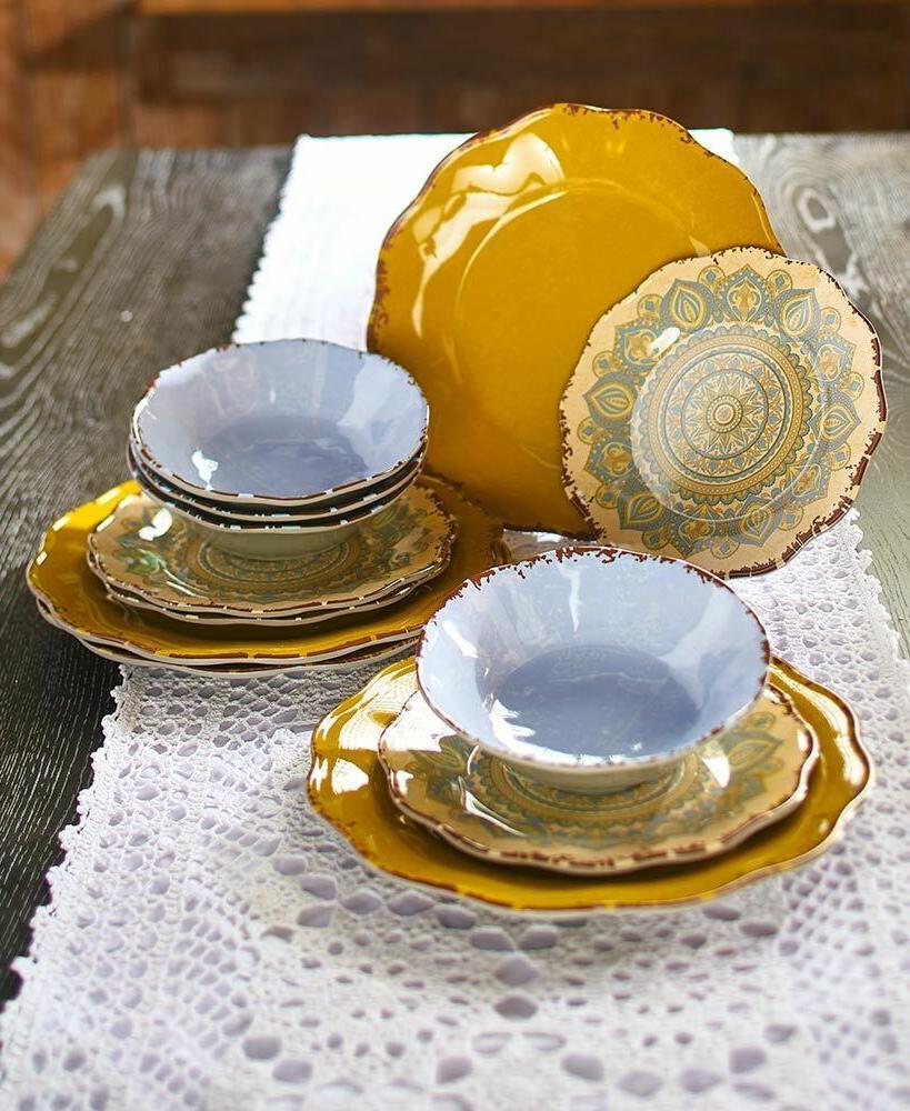 12 pc melamine mandala dinnerware set