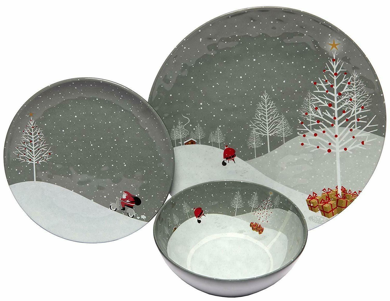 santa dinnerware set china dishes bowls table