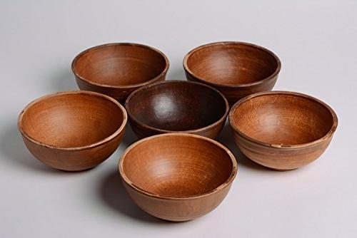 set deep ceramic bowls brown