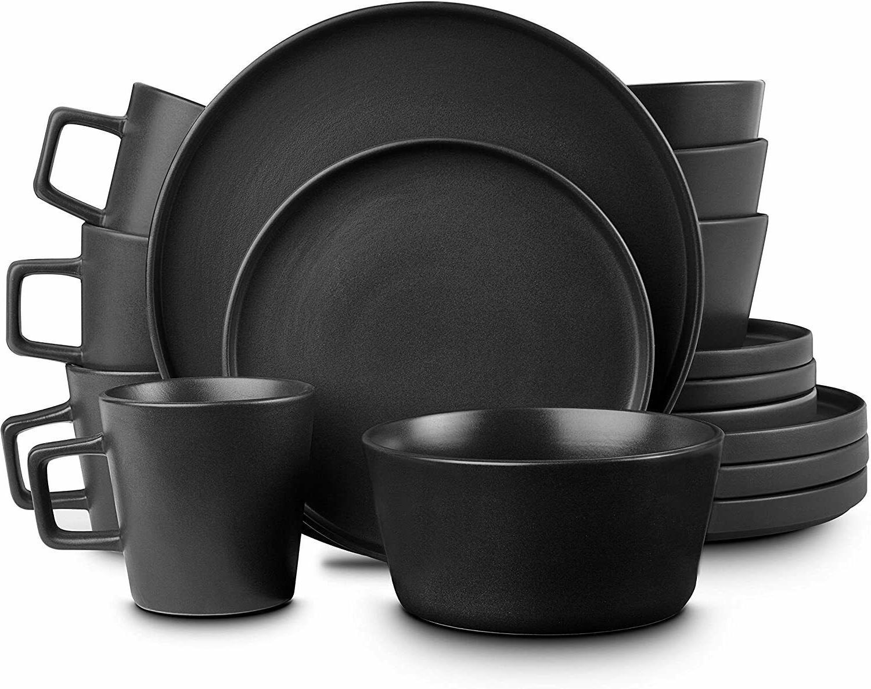 Stone Lain Coupe Dinnerware Set Service For 4 Black Matte