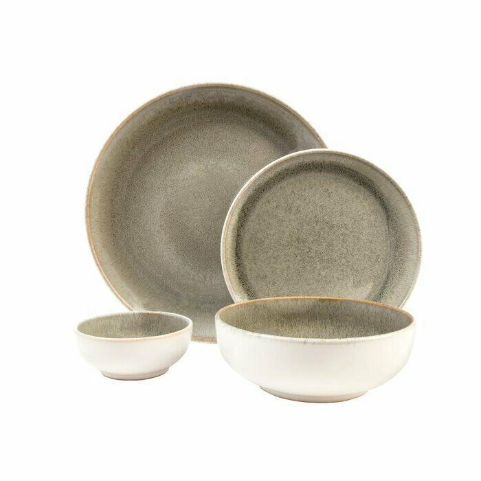 Set Dinnerware Dishes Stoneware Vintage Modern