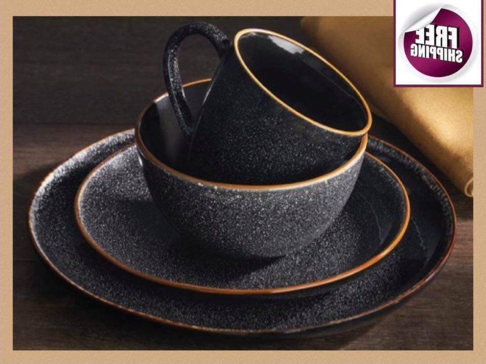 set dinnerware 16 pcs dishes plate stoneware