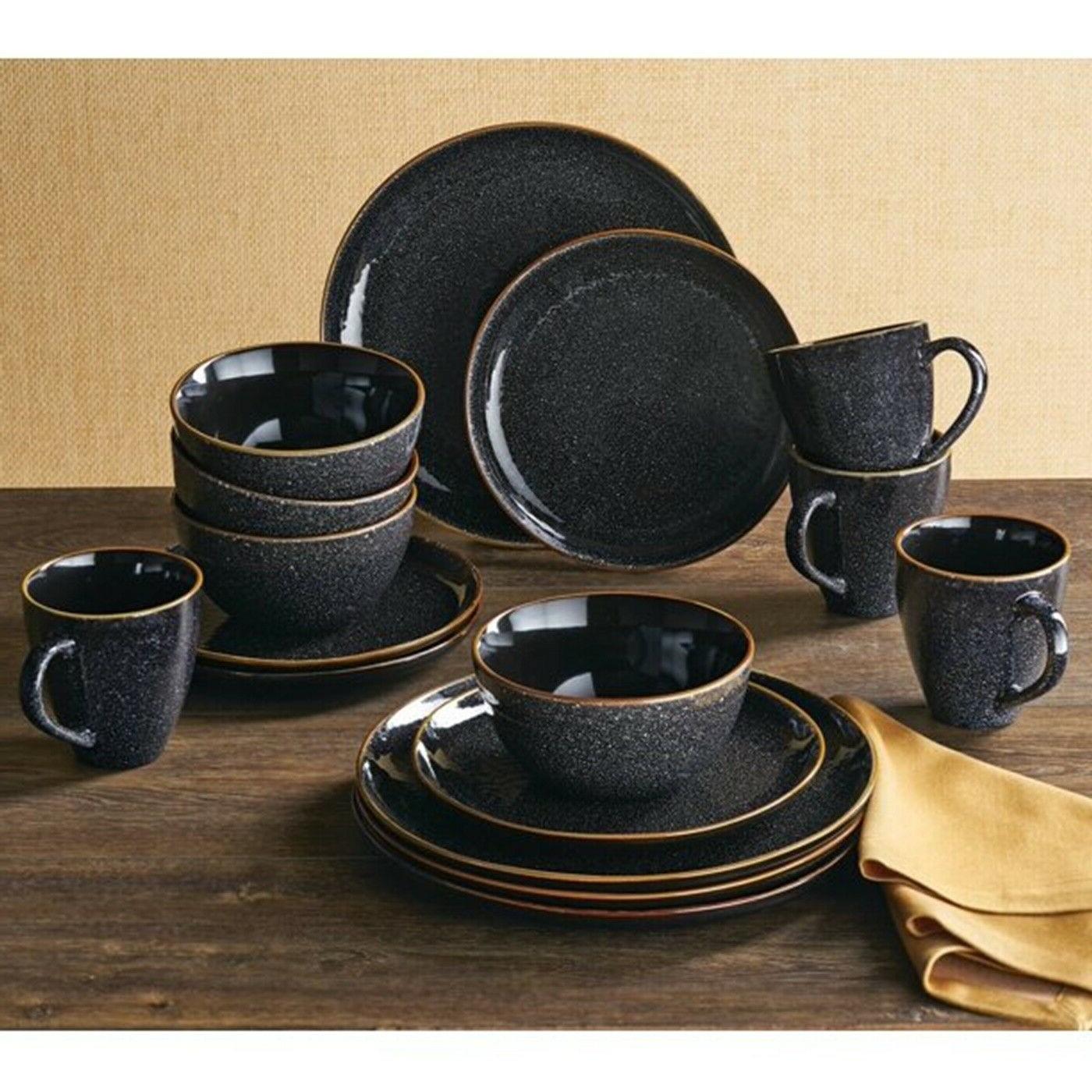 Set Dinnerware 16 Piece Dishes Plate Mug Vintage Classic Mod