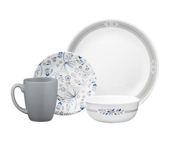 signature praire dinnerware set 16 piece graywhite