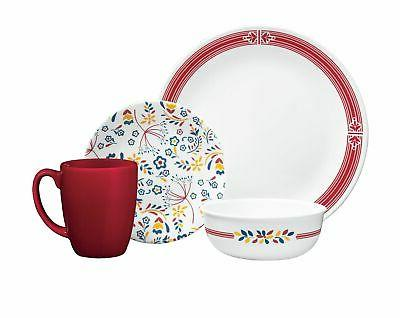 signature prairie garden red 16 pc dinnerware