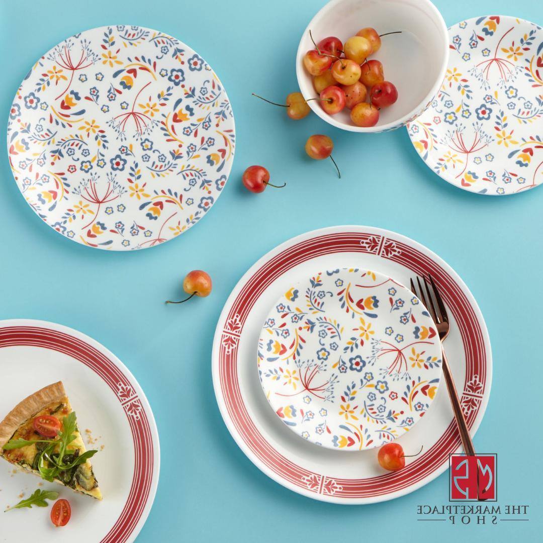 Corelle Signature Prairie Garden Red 16-Piece Dinnerware Set