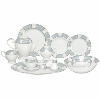 silver accent porcelain dinnerware set