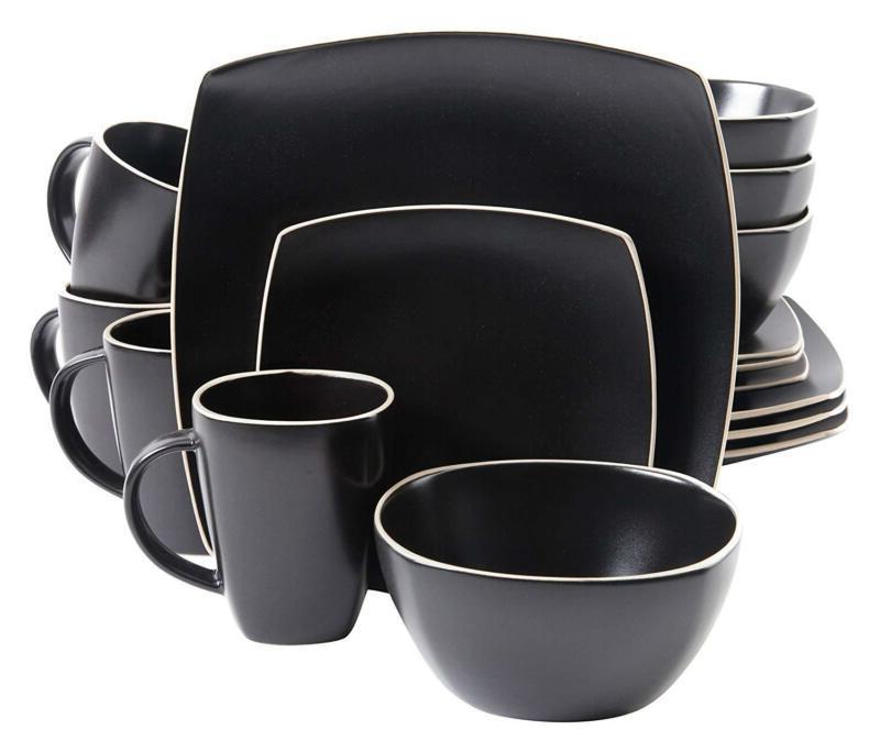 Gibson Home Soho Lounge Matte 16 Piece Dinnerware Set, Black