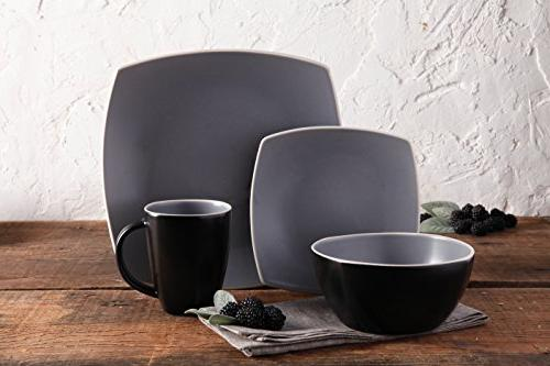 Gibson Home 102266.16RM Square Service of 4, Grey, Dinnware