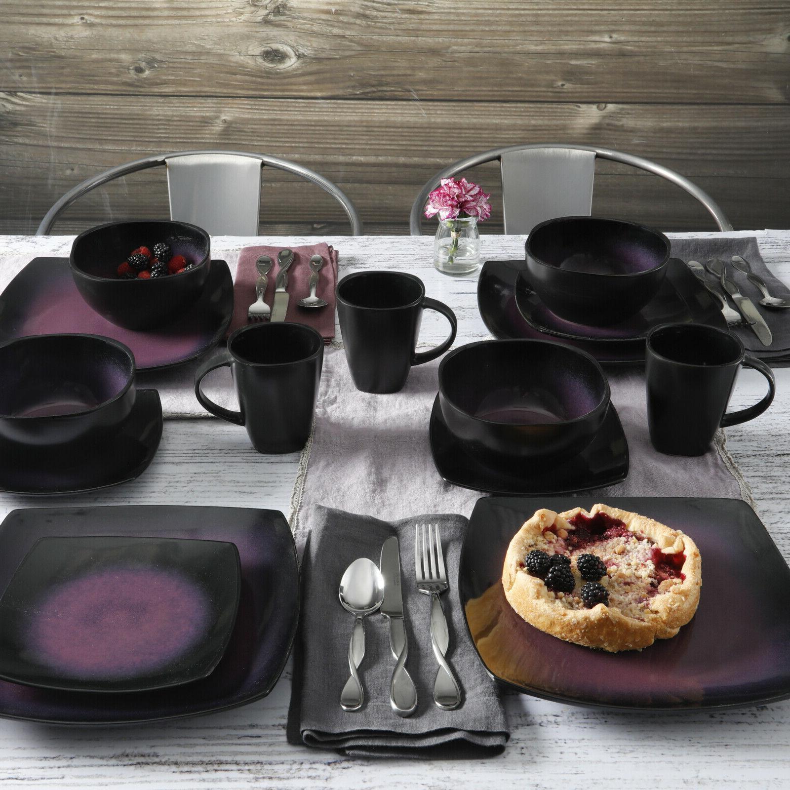Dinnerware Set Round 16 Cups Bowl reactive glaze