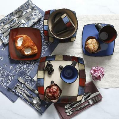 16 piece Dinnerware Set Square Plates Dishes + Bowls Kitchen