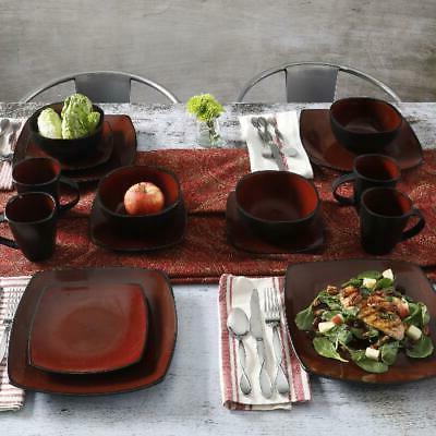 Beautiful 16-Piece Black Red Dinnerware Square Plates Bowls
