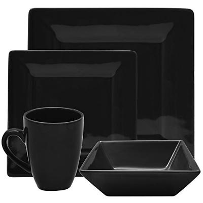 10 Strawberry Street Square 16 Piece Dinnerware Set, Black