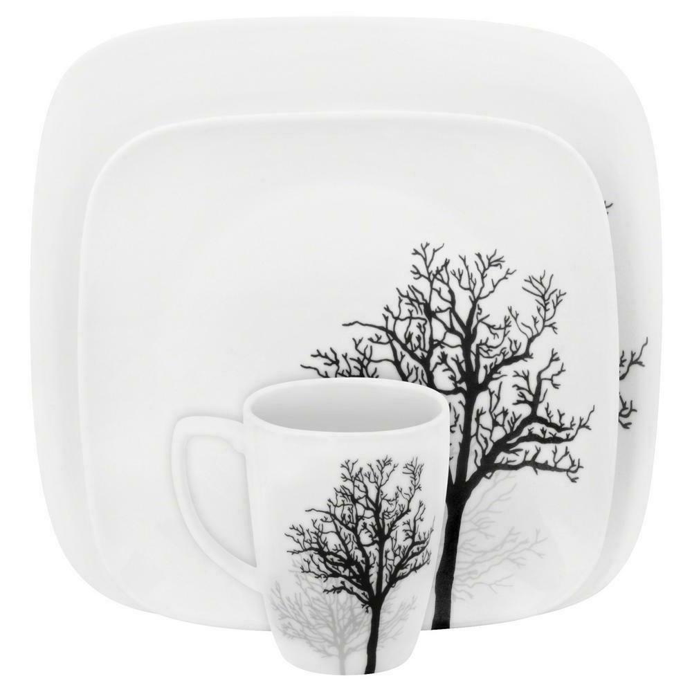 Corelle Square 16-Piece Timber Shadows Dinnerware Set -Plate