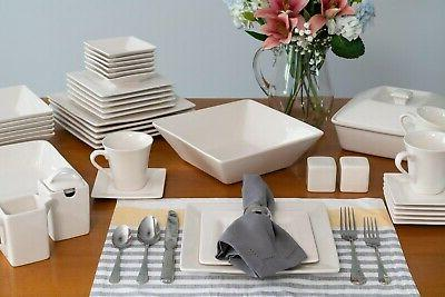 Square Banquet Dinnerware Set for Six,
