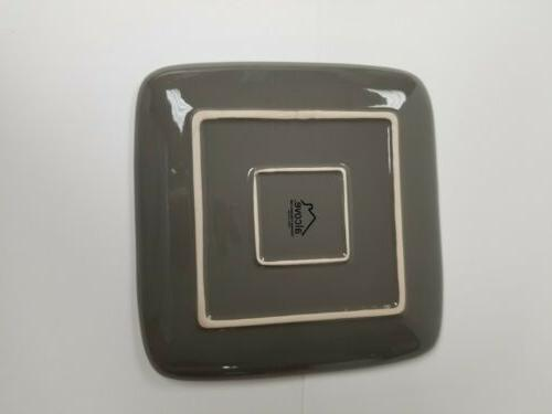 Square Set Piece Plates Kitchen Stoneware Dishes