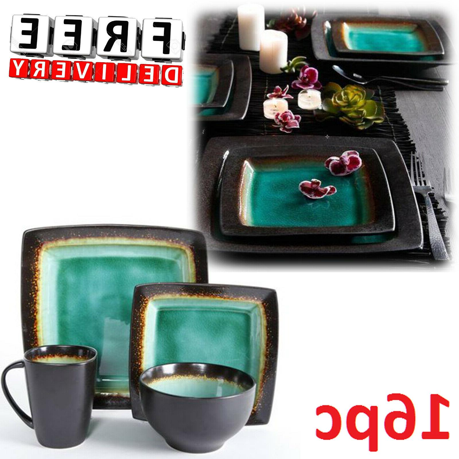Square Dinnerware Set For 4 16Pcs Stoneware Kitchen Plates B