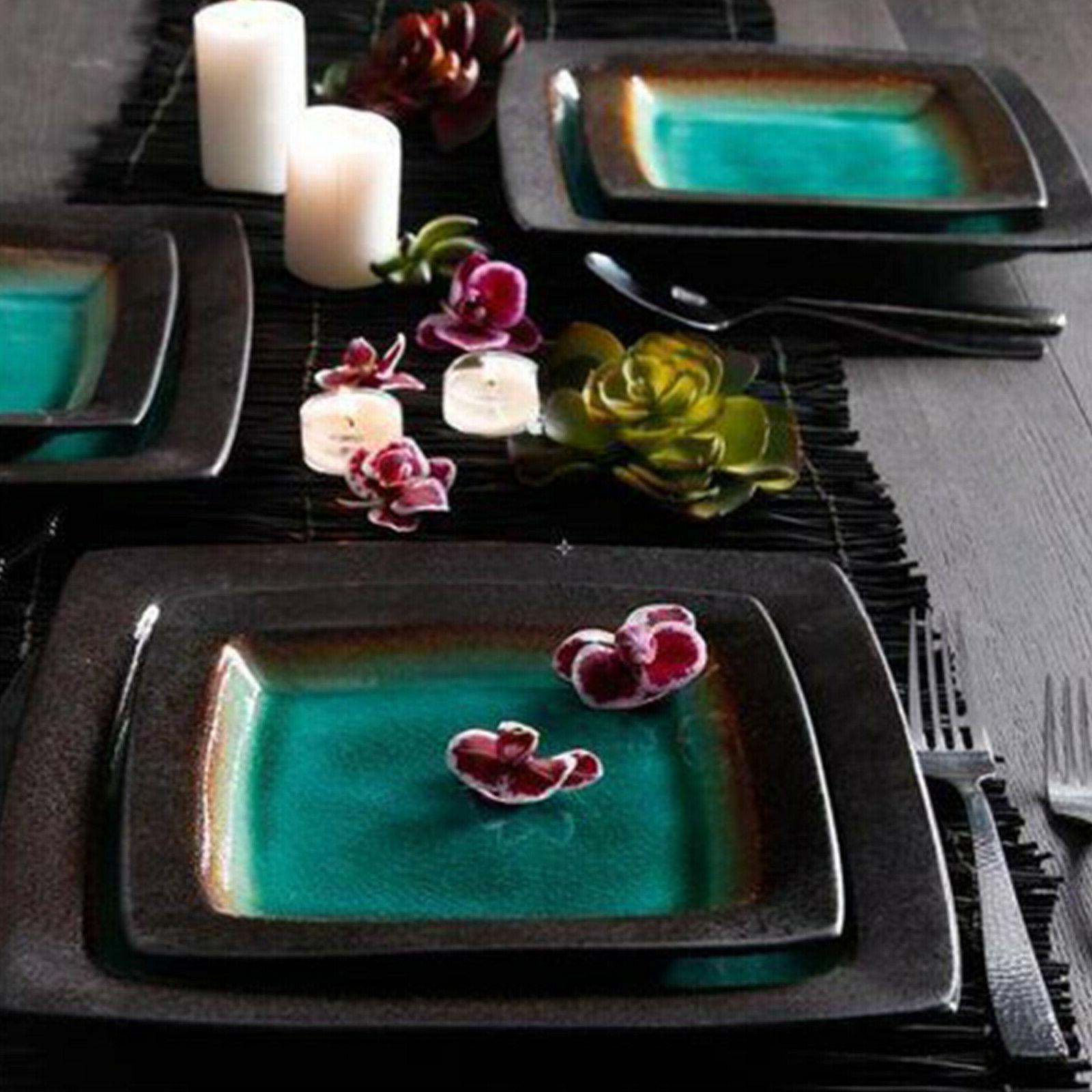 Square Dinnerware For 4 Plates Bowls Mug New
