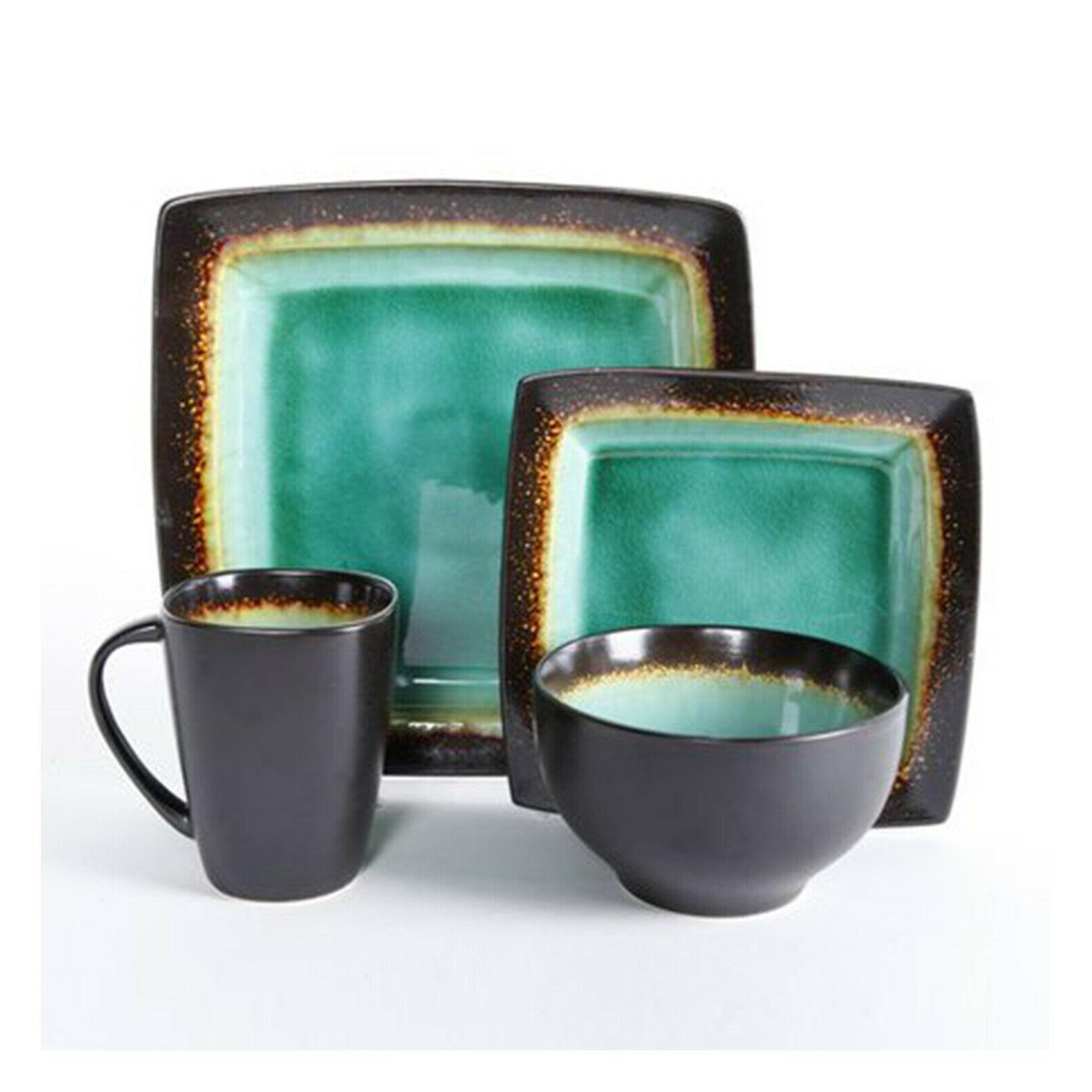 Square Set 4 Stoneware Plates Bowls Dishes New