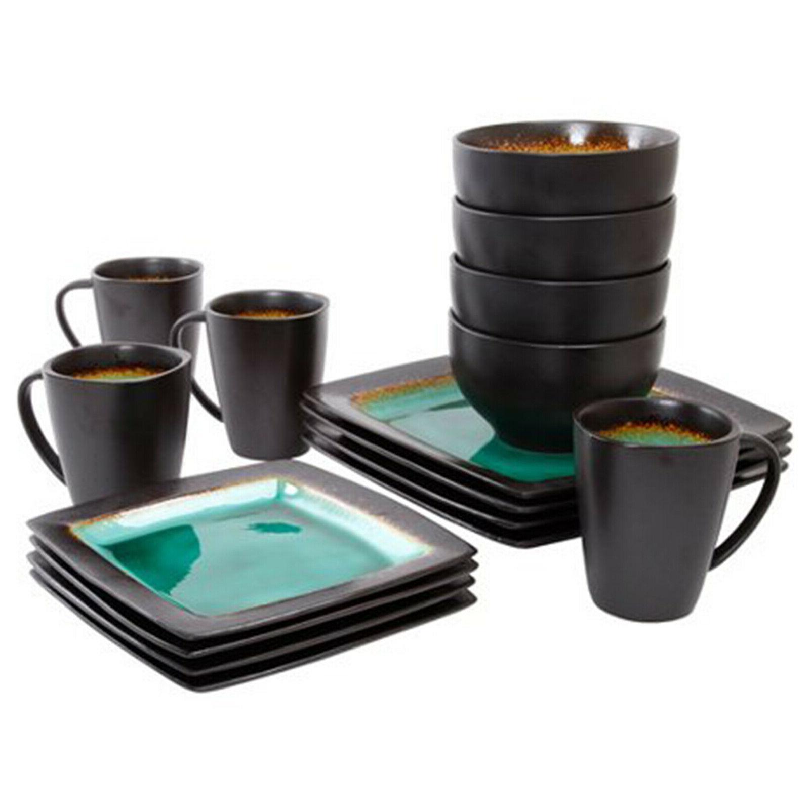 Square Dinnerware 4 16Pcs Plates Dishes Mug New