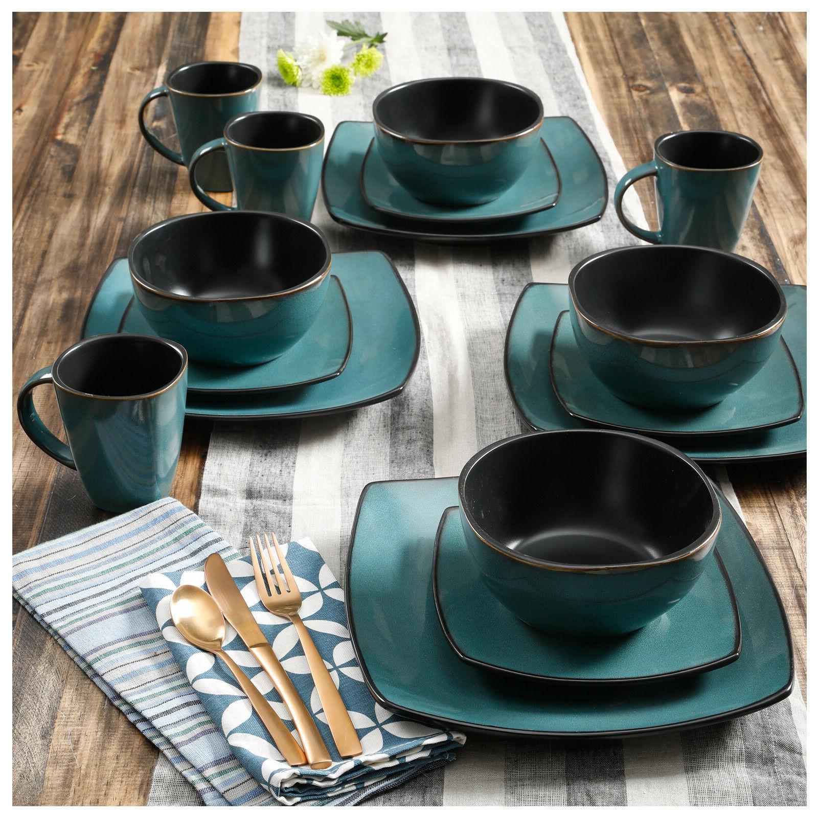 Square Dinnerware Set For 8 85Pcs Kitchen 32Pc Plates Bowls Dishes Mug