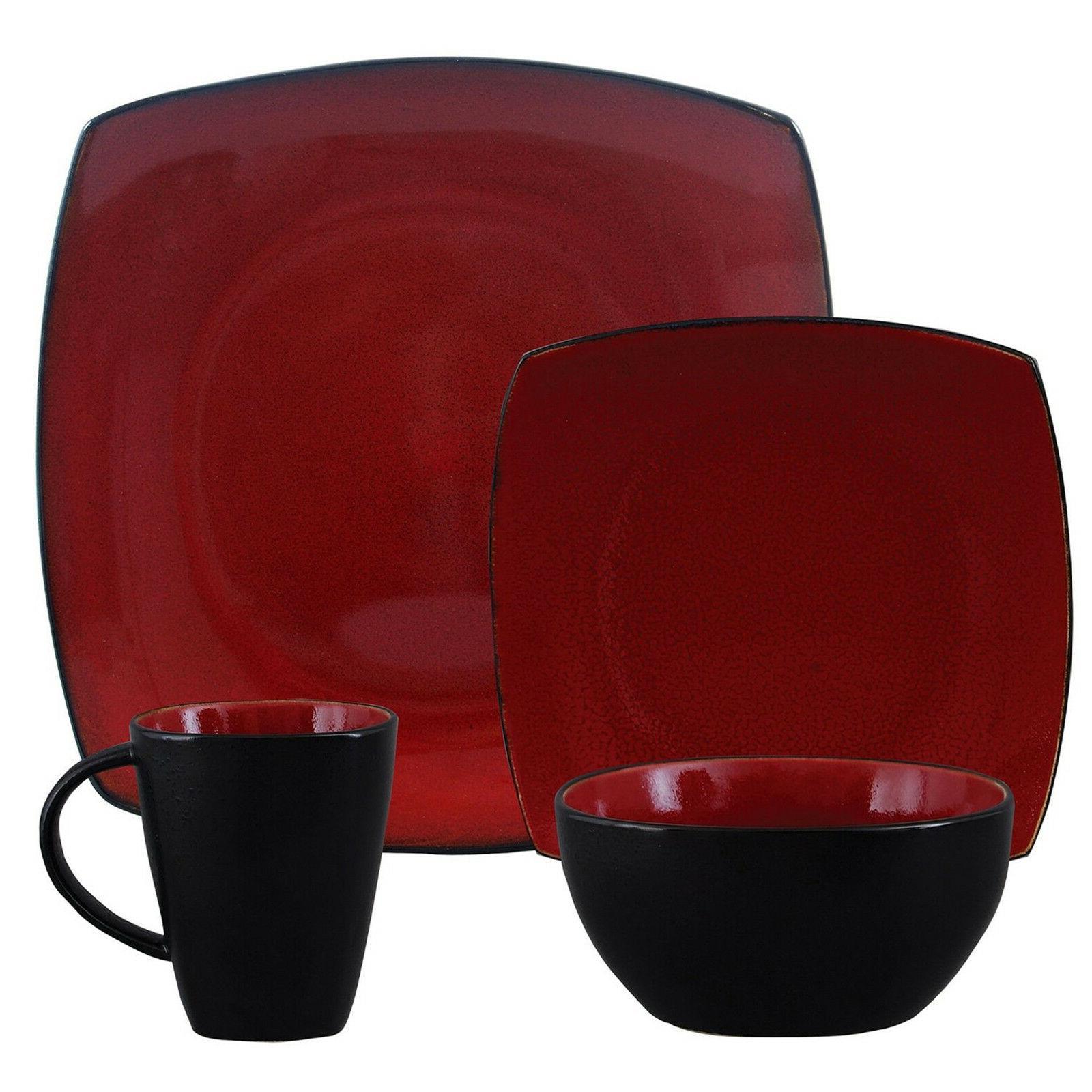 Square Dinnerware 8 Stoneware 32Pc Plates Mug