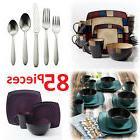 Square Dinnerware Set For 8 85Pcs Stoneware Kitchen 32Pc Pla