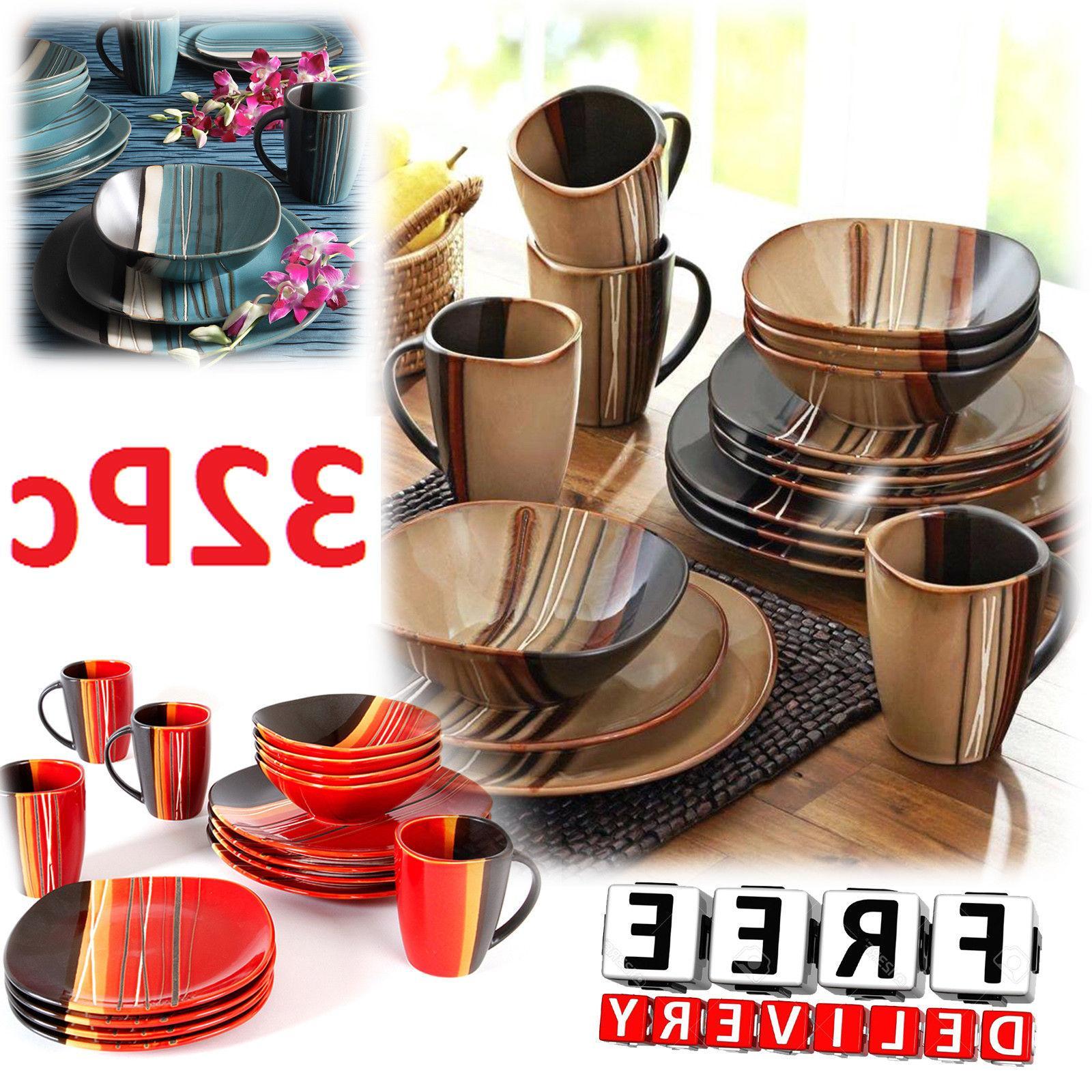square dinnerware set for 8 stoneware kitchen