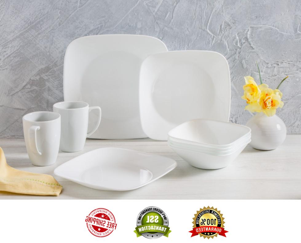 Square Dinnerware Set Pure White 16 Piece Dishwasher Safe by