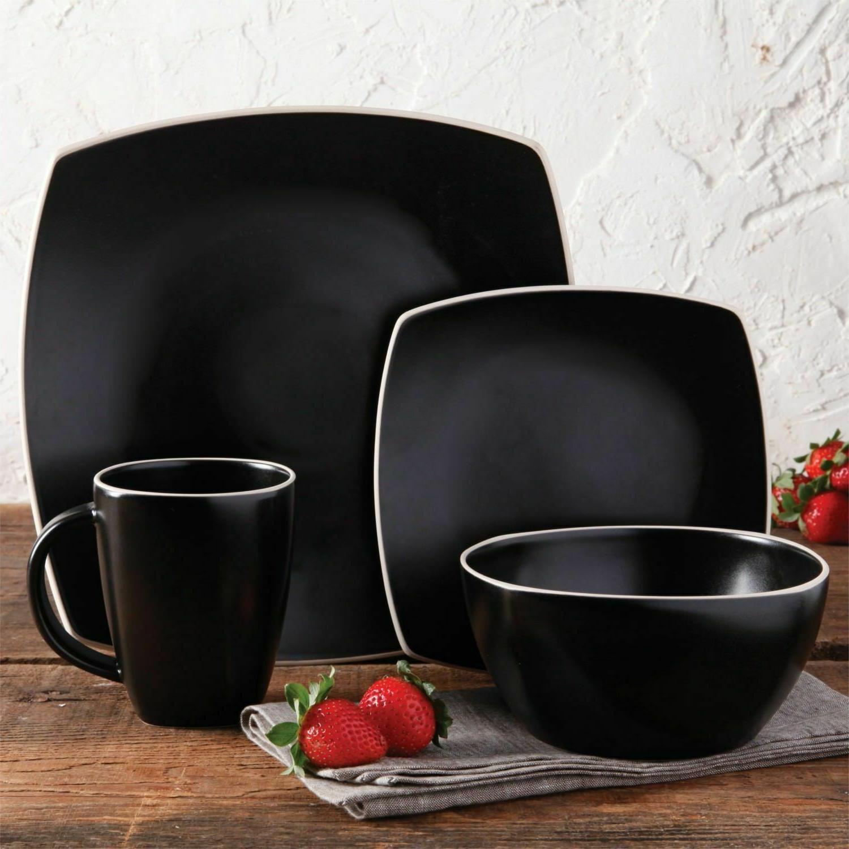 Square Matte Black Dinnerware Set Kitchen Dining Dishes Plat