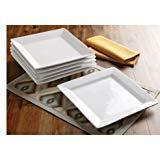 Better Homes and Gardens Square Porcelain Dinner Plates, Whi