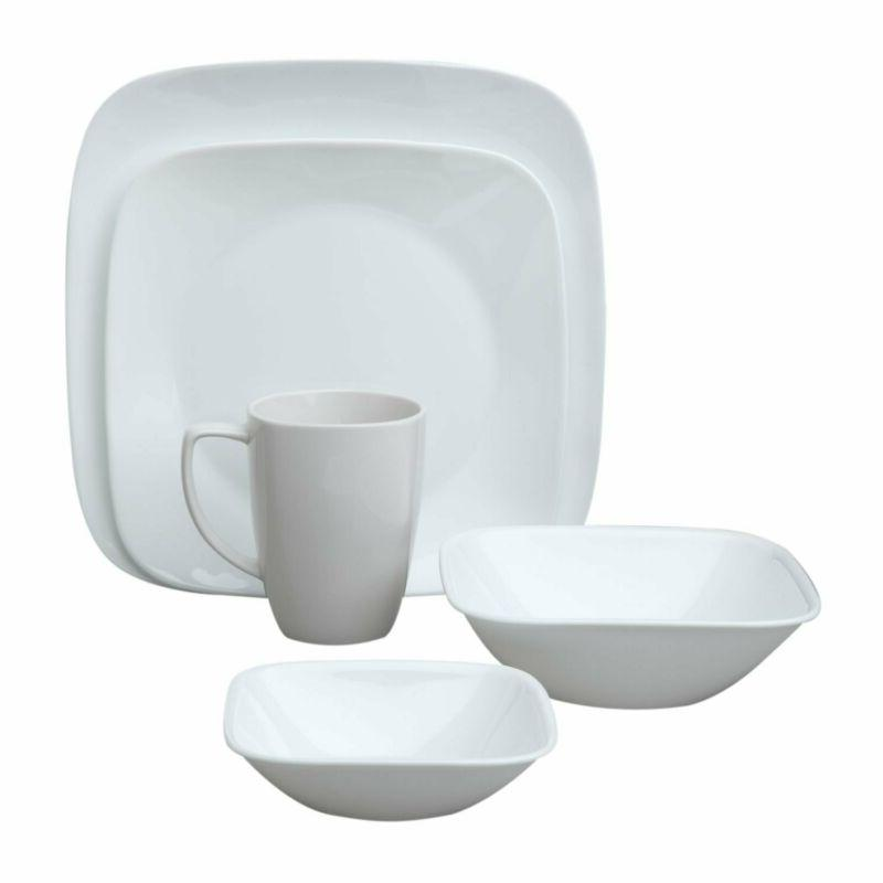 Corelle Square Pure White 20-Piece Dinnerware Set, Service f