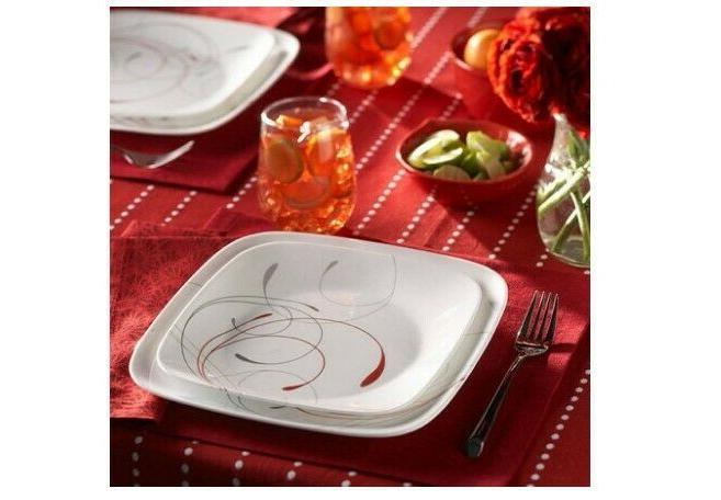 Corelle Square Splendor 16-Piece Dinnerware Set Vitrelle Gla