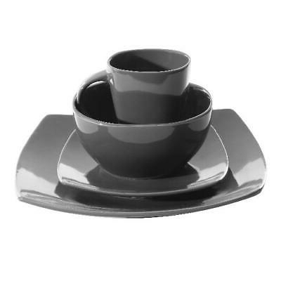 Square Stoneware Set - 16 Plates Mugs Home,