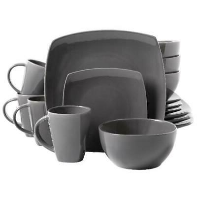 DINNERWARE SET 16-Piece Plates Bowls Mugs Dishes Stoneware S