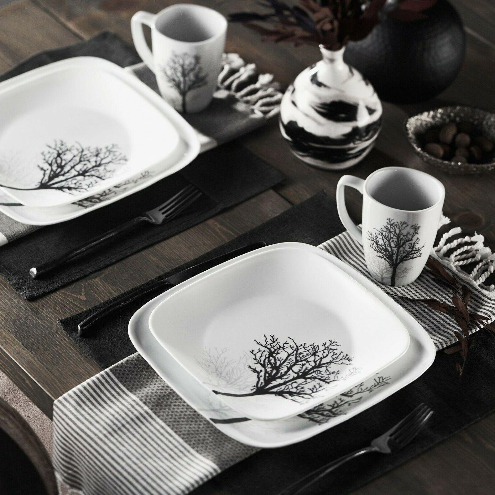 square timber shadows 16 piece dinnerware