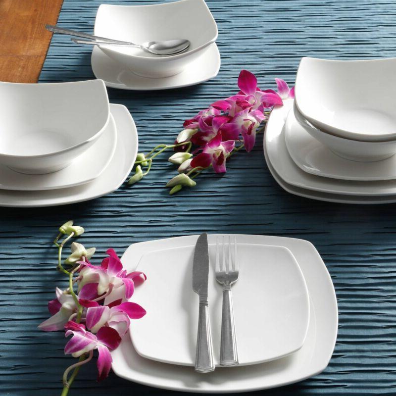 Square Ceramic Everyday 12 Bowls Dinnerware Set