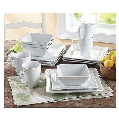 Square White Dinner Dishes Plates 16 Piece Porcelain Dinnerw
