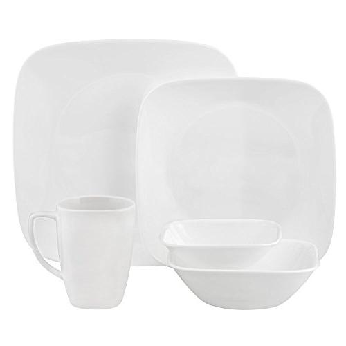 Corelle Square Pure 20-Piece Dinnerware Set, Service for