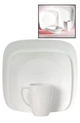 Corelle Square White Dinnerware, with Service Chip Glass, and Safe, Bold and Color, Scratch with Stackable Easy