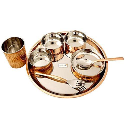 Prisha Craft Steel Copper Dinner Set 6, Serveware & Dinnerware, 48 Pieces