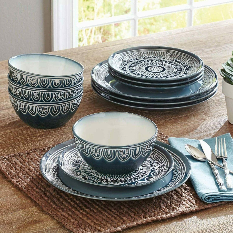 stoneware 12 piece dinnerware dish set teal