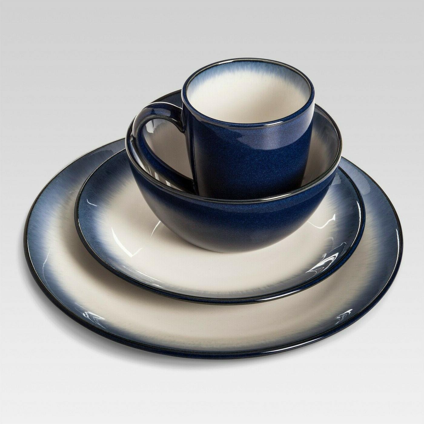 stoneware 16pc dinnerware set landon blue