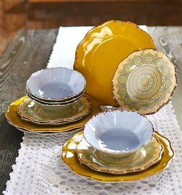 stunning bold pattern 12 piece melamine mandala