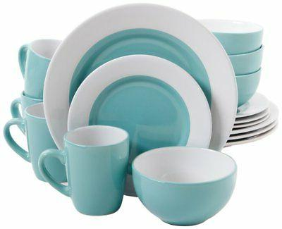 Gibson Home Style Deluxe 16-Piece Dinnerware Set, Blue 2 Day