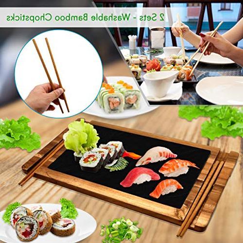 Sushi Wood Board Serving Platter Food Dessert Tray Set Slate Stone 2 of - Ceramic Sauce - PKSUSH10