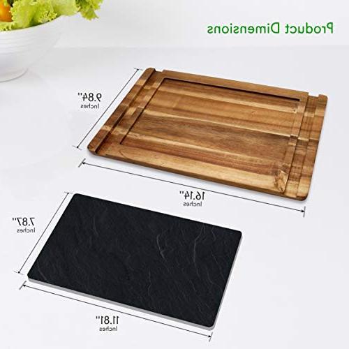 Sushi Board Platter - and Dessert Wooden Tray Plate Set - Natural Black Slate 2 - - NutriChef