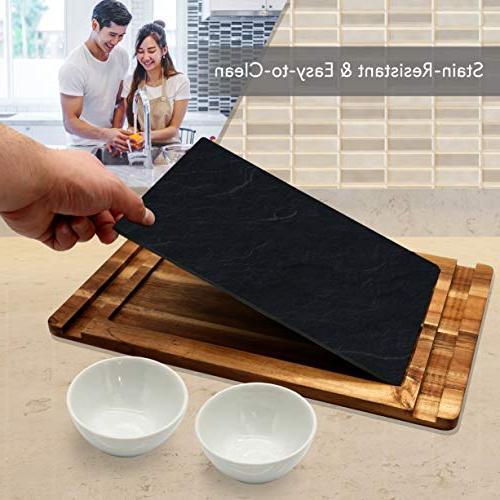 Sushi Wood Platter - Dessert Wooden Plate Set Slate 2 - Sauce Bowl for - NutriChef PKSUSH10