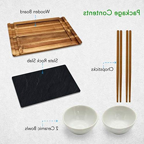 Sushi Platter and Dessert Wooden Tray Set - Black Slate Stone with 2 - Sauce for - PKSUSH10