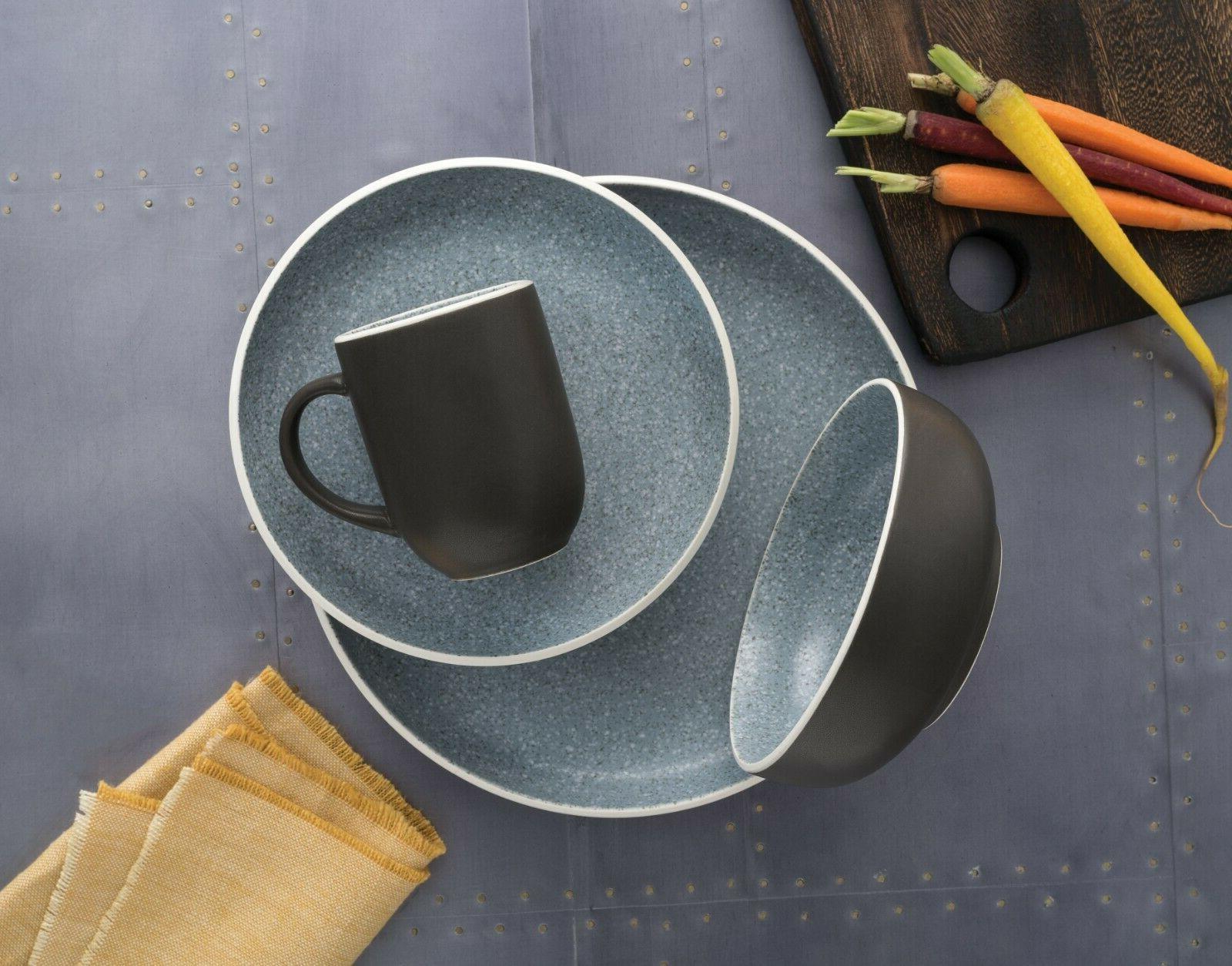 tailor granite grey 16 piece stoneware dinnerware